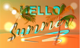 Hello summer banner template, discounts for your design. Royalty Free Stock Photo