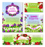 Hello Summer banner template with flower field. Hello Summer floral banner template. Summer flower field with green grass and butterfly greeting card and poster Stock Images