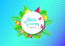 Hello Summer banner with Travel Vacation Elements. Vector illustration stock illustration