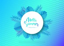 Hello Summer banner with tropical leaves. Vector illustration royalty free illustration