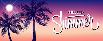 Hello Summer Banner With Sun And Palm Trees Silhouette. Hand Drawn Lettering. Summertime Background.