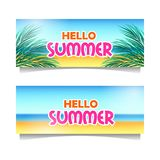 Hello summer beach banner template with sand tropical paradise with leaves. Hello summer beach set banner template with sand tropical paradise with leaves vector illustration