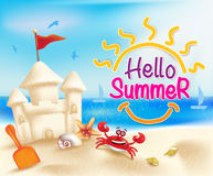 Hello Summer Beach in a Bright Blue Sky with Sandcastle Royalty Free Stock Photography