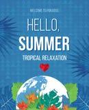 Hello Summer Beach Party Flyer. Stock Photo