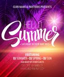 Hello Summer Beach Party Flyer. Vector Design Royalty Free Stock Photo