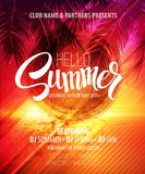 Hello Summer Beach Party Flyer. Vector Design Royalty Free Stock Image