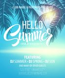 Hello Summer Beach Party Flyer. Vector Design Stock Photos