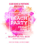 Hello Summer Beach Party Flyer. Vector Design royalty free illustration