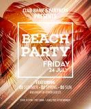Hello Summer Beach Party Flyer. Vector Design royalty free illustration