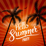 Hello Summer Beach Party. Hello Summer Lettering vacation and travel. Tropical poster with sunset or sunrise bright. Background and palm exotic island Stock Photography