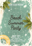 Hello summer Beach party retro flyer Royalty Free Stock Images