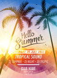 Hello Summer Beach Party. Tropic Summer fun vacation and travel. Tropical poster colorful background and palm exotic. Island. Music summer party festival. DJ stock illustration