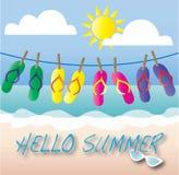 Hello summer beach vacation header Royalty Free Stock Photos
