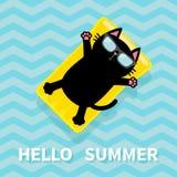 Hello Summer. Black cat floating on yellow air pool water mattress. Cute cartoon relaxing character. Sunglasses. Sea Ocean water w Stock Photo