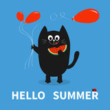 Hello summer. Black cat holding red balloon, watermelon. Ladybug insect. Cute cartoon character. Greeting card. Funny pet animal c. Ollection. Flat design. Blue Royalty Free Stock Images