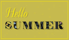 Hello Summer. Black Floral font. Royalty Free Stock Image