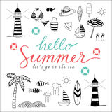 Hello summer black icons. Hello Summer doodle black and white icons, Lets go to the sea Stock Photos