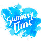 Hello summer blue colored hand lettering Royalty Free Stock Image