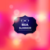 Hello Summer blured vector background with sunglssses Royalty Free Stock Photography