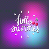 Hello summer on blurred background. Lettering with cherry. Royalty Free Stock Photography