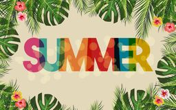 Hello Summer brand texture with botanical flora and palm leaves. Vector illustration stock illustration