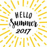 Hello Summer 2017. Bright lettering template. Royalty Free Stock Photos