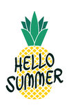 Hello summer bright poster with pineapple and hand drawn lettering Royalty Free Stock Photo