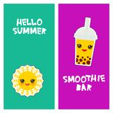 Hello Summer bright tropical card banner design, fashion patches badges stickers. bubble tea, sun. Kawaii cute face. Applicable. For Banners, Flyers. Vector vector illustration