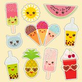 Hello Summer bright tropical card banner design, fashion patches badges stickers collection. Exotic fruits, pineapple, bubble tea. Cup, ice cream, sunglasses stock illustration