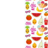 Hello Summer bright tropical card banner design, fashion patches badges stickers. Exotic fruits, pineapple, cherry smoothie cup,. Ice cream cone, sunglasses stock illustration