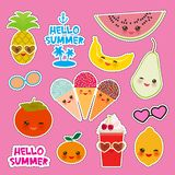 Hello Summer bright tropical card banner design, fashion patches badges stickers. Exotic fruits, pineapple, cherry smoothie cup,. Ice cream cone, sunglasses royalty free illustration