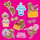 Hello Summer bright tropical card banner design, fashion patches badges stickers. Kawaii cute face sloth collection with cake pops. Donut, lollipop, waffle stock illustration