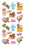 Hello Summer bright tropical card banner design, fashion patches badges stickers. Kawaii cute face sloth collection with cake pops. Donut, lollipop, waffle vector illustration