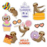 Hello Summer bright tropical card banner design, fashion patches badges stickers. Kawaii cute face sloth collection with cake pops vector illustration