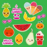 Hello Summer bright tropical card banner design, fashion patches badges stickers. Persimmon, pear, pineapple, cherry smoothie, ice. Cream cone, sunglasses stock illustration