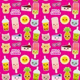 Hello Summer bright tropical seamless pattern design, fashion patches badges stickers. Pineapple, bubble tea cup, ice cream, sun,. Cat, cake, hamster. Kawaii royalty free illustration