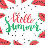 Hello Summer brush hand painted lettering phrase isolated on the white background with colorful watermelon Stock Images