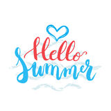 Hello Summer brush hand painted lettering phrase isolated on the white background with light blue waves Royalty Free Stock Photos