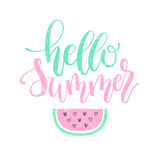 Hello Summer brush and ink hand lettering design element. Royalty Free Stock Image