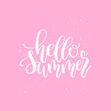 Hello Summer brush and ink hand lettering design element. Royalty Free Stock Photo