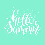 Hello Summer brush and ink hand lettering design element. Royalty Free Stock Photography