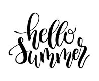 Hello Summer brush and ink hand lettering design element. Royalty Free Stock Images