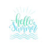 Hello Summer brush and ink hand lettering design element. Royalty Free Stock Photos
