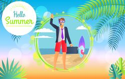 Hello Summer 2017 Businessman Vector Illustration. Hello summer 2017 businessman happily waves, man wearing suit with suitcase and surfboard, sea and beach view Stock Photo