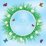 Hello Summer, Butterfly flying above the grass with flowers, Spring. Summer background Stock Image