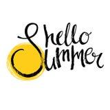 Hello summer Calligraphic design card Ink brush Stock Photo