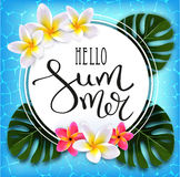 Hello summer. Calligraphic inscription. On the background of azure ocean and tropical flowers, palm leaves. Summer Typography Lettering. Vector illustration Vector Illustration