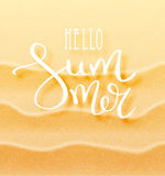 Hello summer calligraphic inscription. With a thin feather. Lettering on the background of a sandy exotic beach. The concept of a beach holiday. Tropical vector Royalty Free Stock Photo