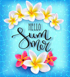 Hello summer. Calligraphic inscription. Summer Tropical Design Concept. Plumeries on the azure water. Floral tropical summer background. Typography Lettering Stock Photos