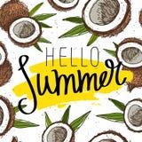 Hello summer. Calligraphy. Paradise fruit Stock Image